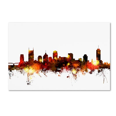 Trademark Fine Art Michael Tompsett Nashville Tennessee Skyline Red 12 x 19 Canvas Stretched (190836093540)