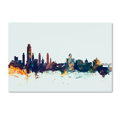 Trademark Fine Art Michael Tompsett Albany New York Skyline Blue 12 x 19 Canvas Stretched (190836087648)