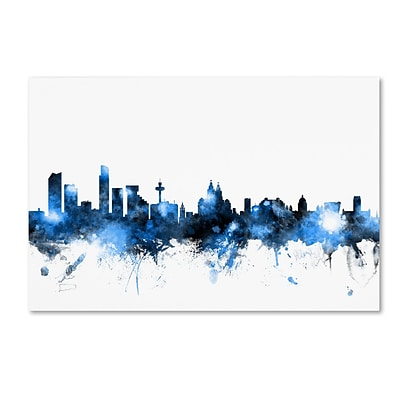 Trademark Fine Art Michael Tompsett Liverpool Skyline White 12 x 19 Canvas Stretched (190836092482)