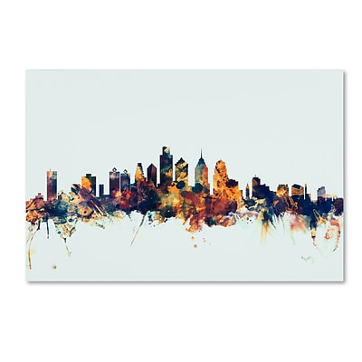 Trademark Fine Art Michael Tompsett Philadelphia PA Skyline Blue 12 x 19 Canvas Stretched (190836084326)
