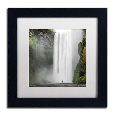 Trademark Fine Art Philippe Sainte-Laudy Alone at Skogafoss 11 x 11 Matted Framed (190836281824)