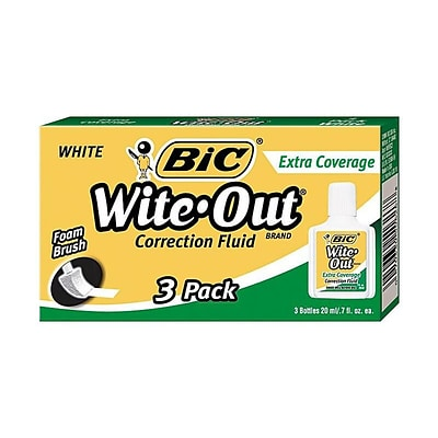 Wite-Out Extra Coverage Correction Fluid, White, 3/Pack (50626)