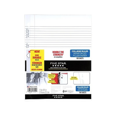 Five Star Reinforced College Ruled Filler Paper, 11 x 8.5, White, 100/Pack (17010)