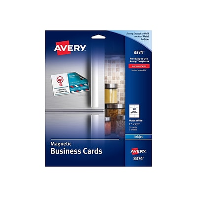 Avery Business Cards, 3.5W x 2L, Matte White, 30/Pack (8374)