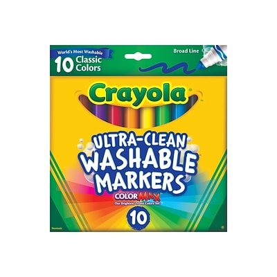 Crayola Ultra-Clean Washable Markers, Broad, Assorted Colors, 10/Pack (58-7851)