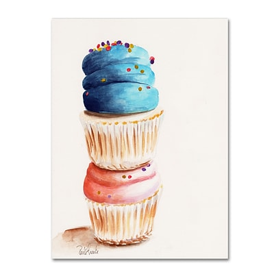 Trademark Fine Art Jennifer Redstreake Stacked Cupcakes No Words 14 x 19 Canvas Stretched (886511945173)