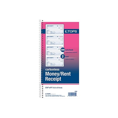 TOPS Money/Rent Receipt Book, 200 Sets/Book, White/Canary (4161)