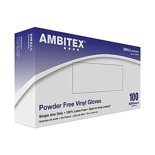Ambitex V5201 Series Latex Free Clear Vinyl Gloves, Small, 100/Box, 10 Boxes/CT (VSM5201)