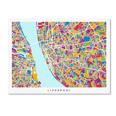 Trademark Fine Art Michael Tompsett Liverpool England Street Map 4 14 x 19 Canvas Stretched (190836020232)