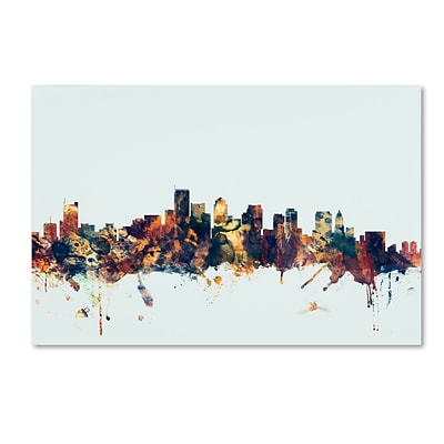 Trademark Fine Art Michael Tompsett Boston MA Skyline Blue 12 x 19 Canvas Stretched (190836084005)