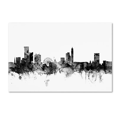 Trademark Fine Art Michael Tompsett Birmingham England Skyline B&W 12 x 19 Canvas Stretched (190836112081)