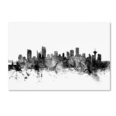Trademark Fine Art Michael Tompsett Vancouver Canada Skyline B&W 12 x 19 Canvas Stretched (190836109203)