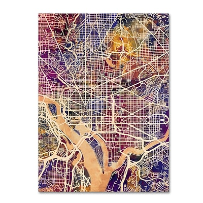 Trademark Fine Art Michael Tompsett Washington DC Street Map 2 14 x 19 Canvas Stretched (190836020713)