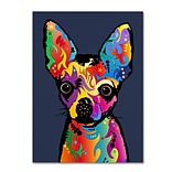 Trademark Fine Art Michael Tompsett Chihuahua Dog Blue 14 x 19 Canvas Stretched (190836022953)