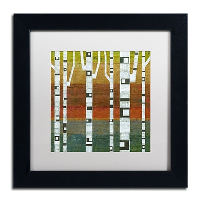Trademark Fine Art Michelle Calkins Birches 11 x 11 Matted Framed (190836070350)