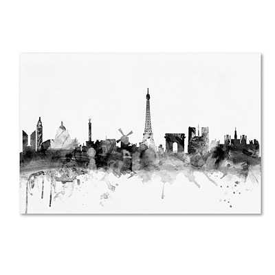 Trademark Fine Art Michael Tompsett Paris France Skyline B&W 12 x 19 Canvas Stretched (190836031894)