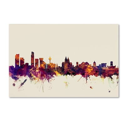 Trademark Fine Art Michael Tompsett Liverpool England Skyline 12 x 19 Canvas Stretched (190836026951)