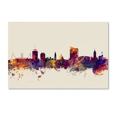 Trademark Fine Art Michael Tompsett Cardiff Wales Skyline 12 x 19 Canvas Stretched (190836026470)