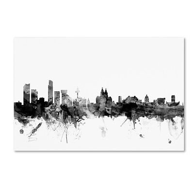 Trademark Fine Art Michael Tompsett Liverpool England Skyline B&W 12 x 19 Canvas Stretched (190836032532)