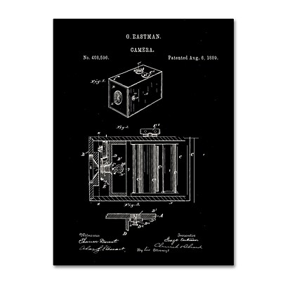 Trademark Fine Art Claire Doherty George Eastman Camera Patent Black 14 x 19 Canvas Stretched (886511939332)