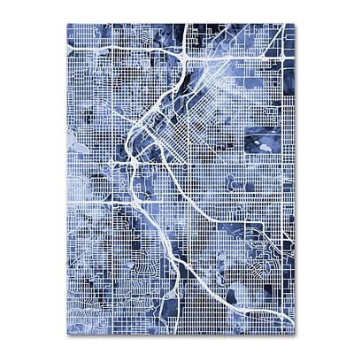 Trademark Fine Art Michael Tompsett Denver Colorado Street Map B&W 14 x 19 Canvas Stretched (190836018338)