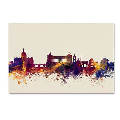 Trademark Fine Art Michael Tompsett Rome Italy Skyline 12 x 19 Canvas Stretched (190836023431)