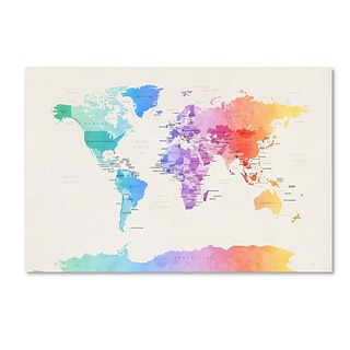 Trademark Fine Art Michael Tompsett Watercolor Political World Map 12 x 19 Canvas Stretched (190