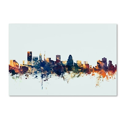 Trademark Fine Art Michael Tompsett Baltimore MD Skyline Blue 12 x 19 Canvas Stretched (190836086245)