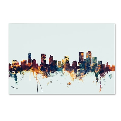 Trademark Fine Art Michael Tompsett Denver Colorado Skyline Blue 12 x 19 Canvas Stretched (190836083541)