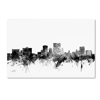 Trademark Fine Art Michael Tompsett El Paso Texas Skyline B&W 12 x 19 Canvas Stretched (190836081127)