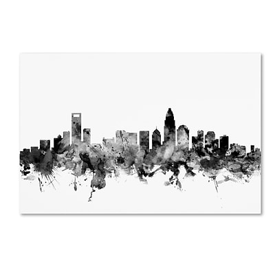 Trademark Fine Art Michael Tompsett Charlotte NC Skyline B&W 12 x 19 Canvas Stretched (190836077205)