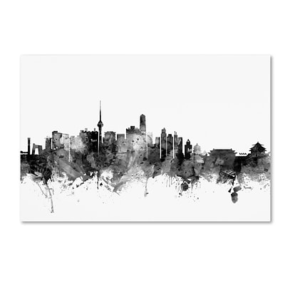 Trademark Fine Art Michael Tompsett Beijing China Skyline B&W 12 x 19 Canvas Stretched (190836079681)