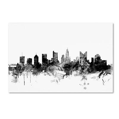 Trademark Fine Art Michael Tompsett Columbus Ohio Skyline B&W 12 x 19 Canvas Stretched (190836103546)
