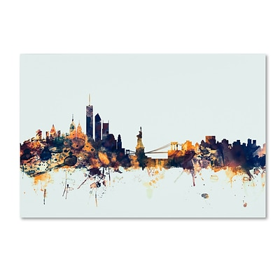 Trademark Fine Art Michael Tompsett New York Skyline Blue 12 x 19 Canvas Stretched (190836082742)