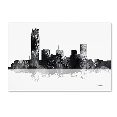 Trademark Fine Art Marlene Watson Oklahoma City Oklahoma Skyline BG-1 12 x 19 Canvas Stretched (190836196326)