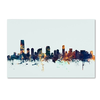 Trademark Fine Art Michael Tompsett Jersey City NJ Skyline Blue 12 x 19 Canvas Stretched (190836090525)