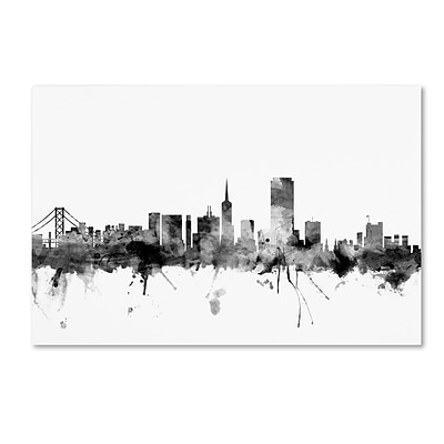 Trademark Fine Art Michael Tompsett San Francisco City Skyline B&W 12 x 19 Canvas Stretched (190836109920)