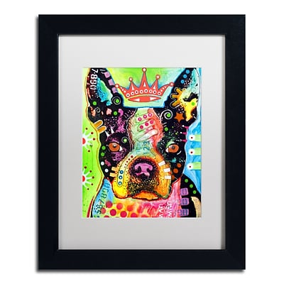Trademark Fine Art Dean Russo Boston Terrier Crowned 11 x 14 Matted Framed (190836146147)
