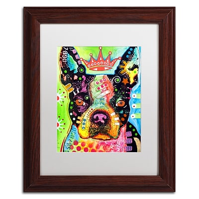 Trademark Fine Art Dean Russo Boston Terrier Crowned 11 x 14 Matted Framed (190836146253)
