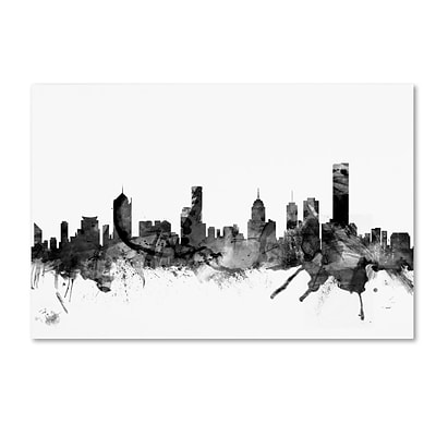 Trademark Fine Art Michael Tompsett Melbourne Skyline B&W 12 x 19 Canvas Stretched (190836111541)