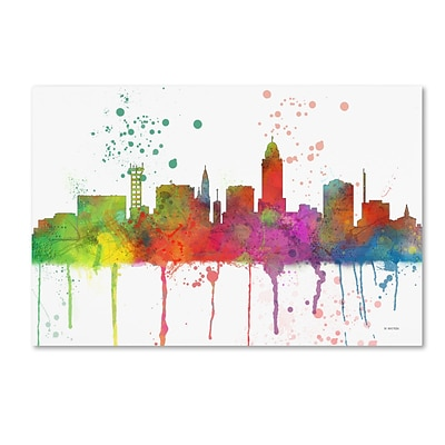 Trademark Fine Art Marlene Watson Lincoln Nebraska Skyline Mclr-1 12 x 19 Canvas Stretched (190836205561)