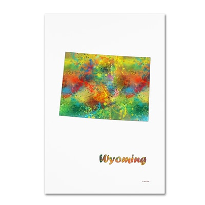 Trademark Fine Art Marlene Watson Wyoming State Map-1 12 x 19 Canvas Stretched (190836218868)