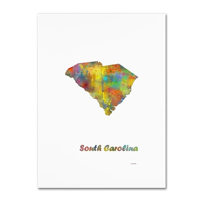 Trademark Fine Art Marlene Watson South Carolina State Map-1 12 x 19 Canvas Stretched (190836217885)