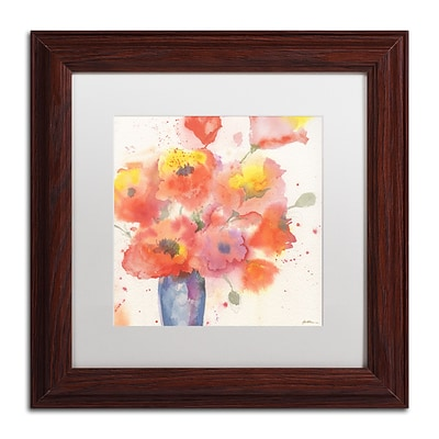 Trademark Fine Art Sheila Golden Vase of Poppies 5 11 x 11 Matted Framed (190836241316)
