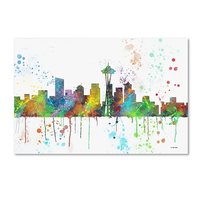 Trademark Fine Art Marlene Watson Seattle Washington Skyline Mclr-1 12 x 19 Canvas Stretched (190836210749)