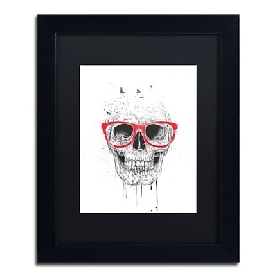 Trademark Fine Art Balazs Solti Skull With Red Glasses 11 x 14 Matted Framed (190836178407)