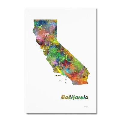 Trademark Fine Art Marlene Watson California State Map-1 12 x 19 Canvas Stretched (190836212989)