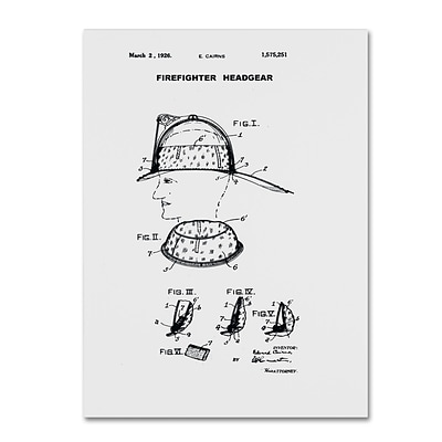 Trademark Fine Art Claire Doherty Firefighter Headgear Patent 1926 White 14 x 19 Canvas Stretched (886511940499)
