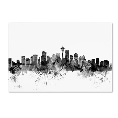 Trademark Fine Art Michael Tompsett Seattle Washington Skyline B&W 12 x 19 Canvas Stretched (190836032853)