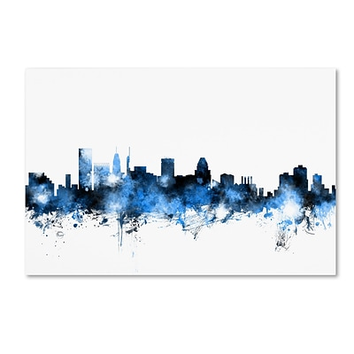 Trademark Fine Art Michael Tompsett Baltimore MD Skyline White 12 x 19 Canvas Stretched (190836094981)